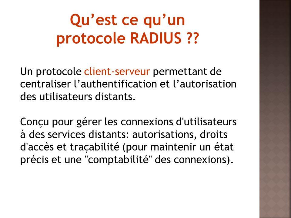 Un environnement Radius est composé de: Serveur Radius : centralise l authentification, l autorisation et la gestion des comptes.