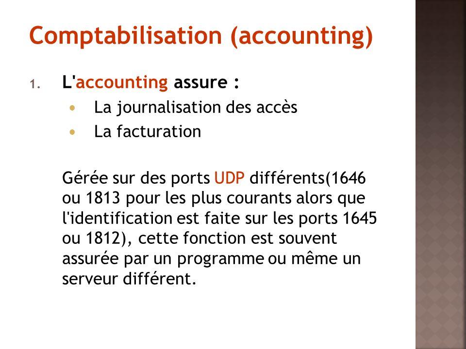 1. L'accounting assure : La journalisation des accès La facturation Gérée sur des ports UDP différents(1646 ou 1813 pour les plus courants alors que l