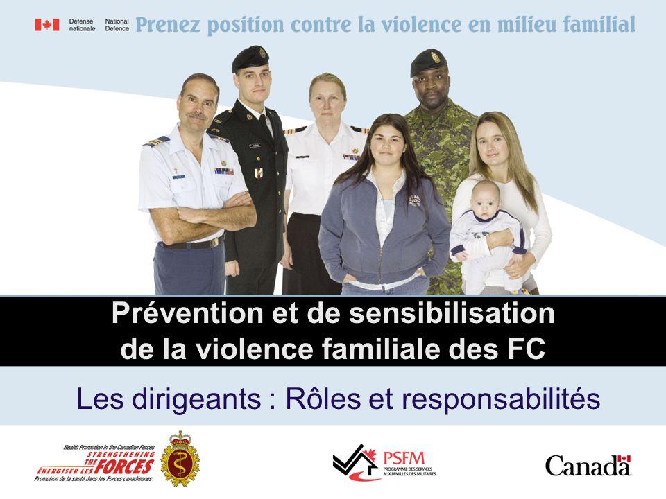 Prévention et de sensibilisation de la violence familiale des FC Les dirigeants : Rôles et responsabilités
