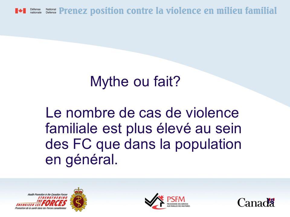 Mythe ou fait? Le nombre de cas de violence familiale est plus élevé au sein des FC que dans la population en général. 18