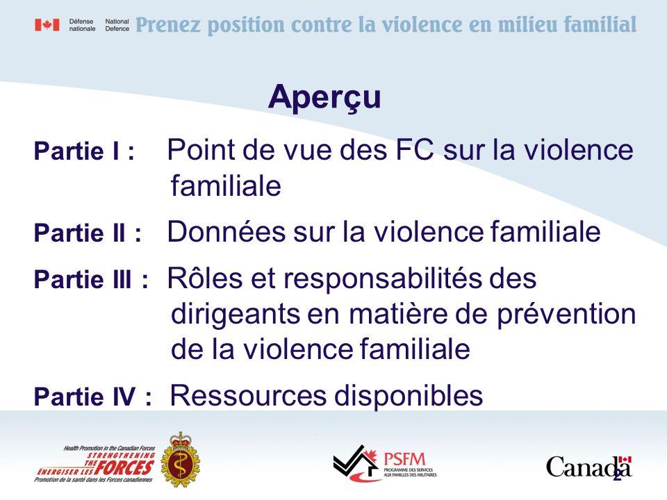 Aperçu Partie I : Point de vue des FC sur la violence familiale Partie II : Données sur la violence familiale Partie III : Rôles et responsabilités de