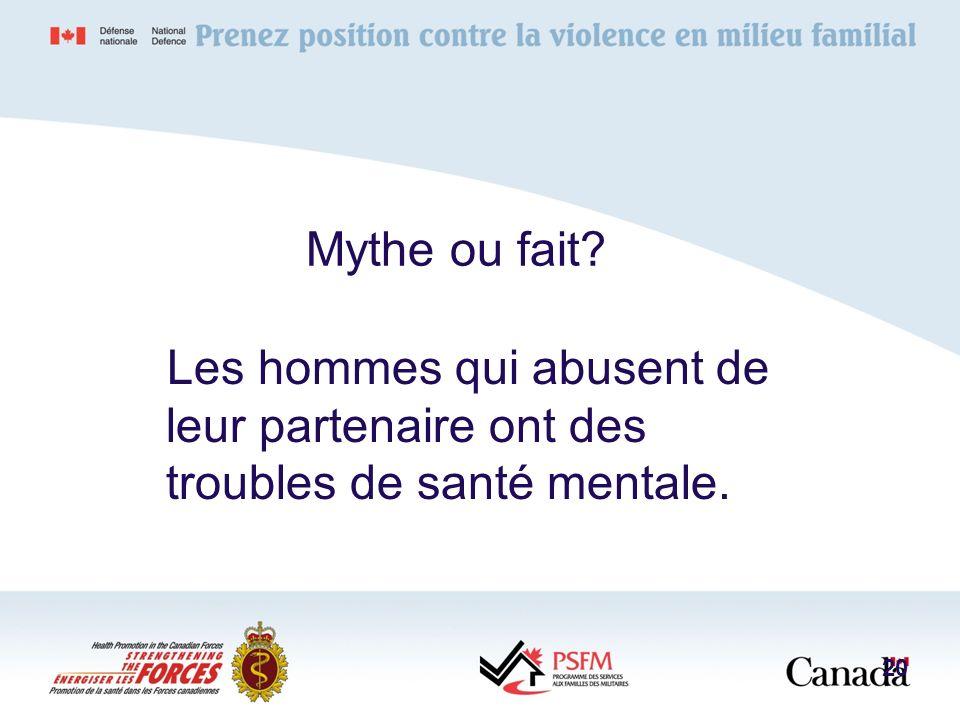 Mythe ou fait? Les hommes qui abusent de leur partenaire ont des troubles de santé mentale. 20