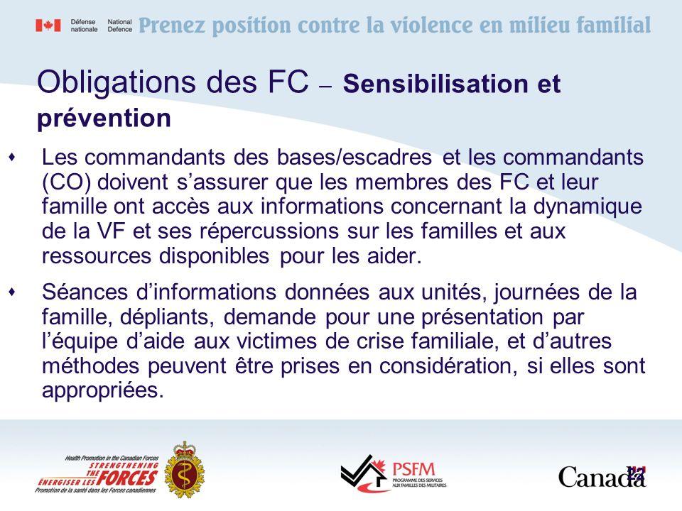 Obligations des FC – Sensibilisation et prévention Les commandants des bases/escadres et les commandants (CO) doivent sassurer que les membres des FC