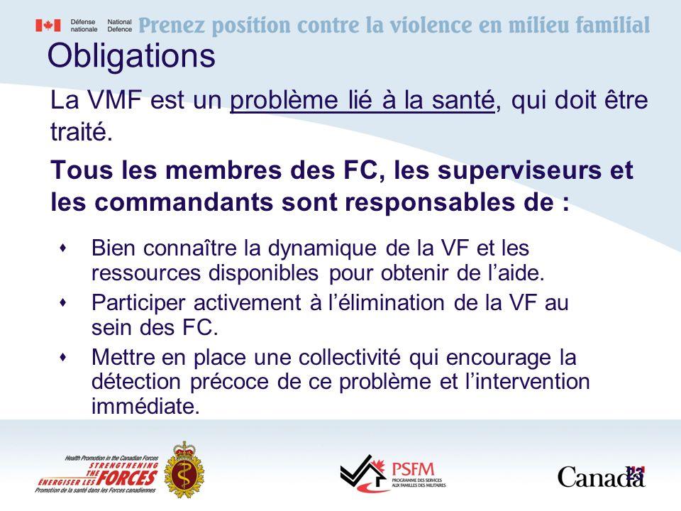 Obligations La VMF est un problème lié à la santé, qui doit être traité. Tous les membres des FC, les superviseurs et les commandants sont responsable
