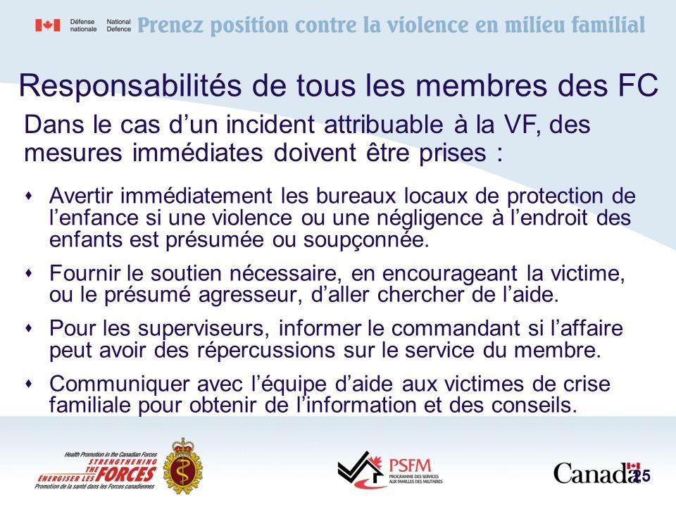 Responsabilités de tous les membres des FC Avertir immédiatement les bureaux locaux de protection de lenfance si une violence ou une négligence à lend