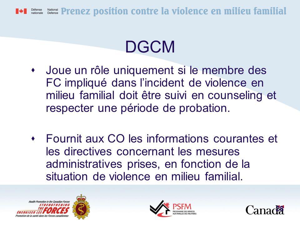 DGCM Joue un rôle uniquement si le membre des FC impliqué dans lincident de violence en milieu familial doit être suivi en counseling et respecter une
