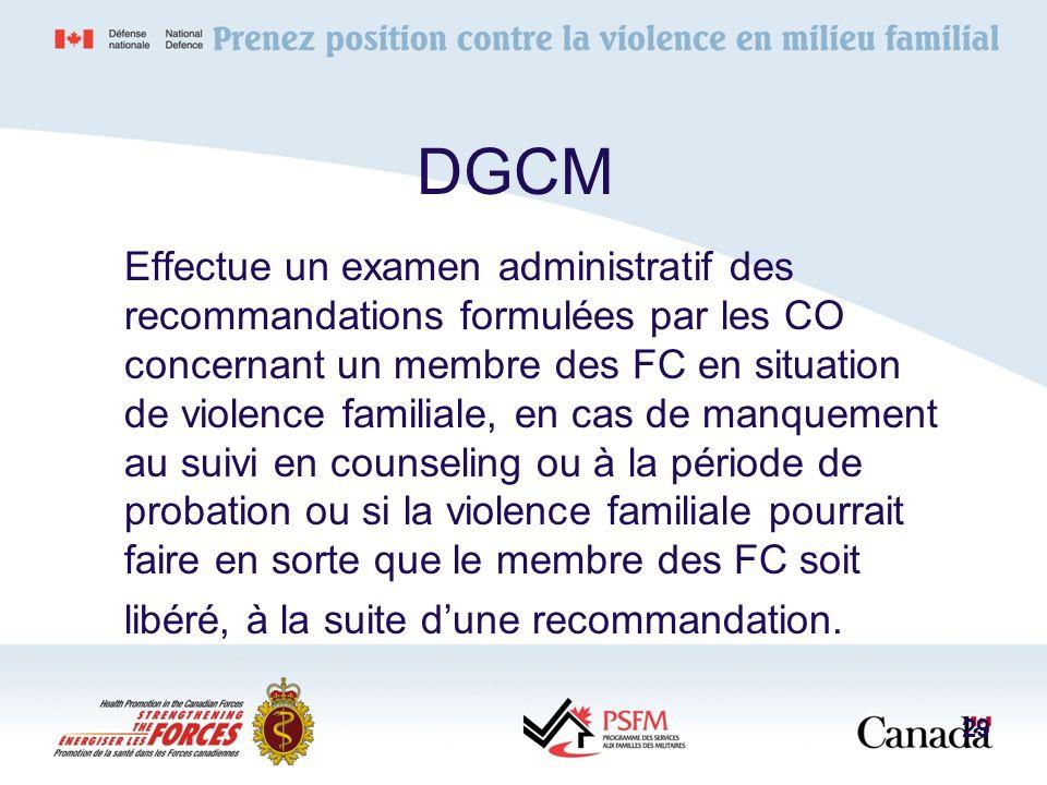 Effectue un examen administratif des recommandations formulées par les CO concernant un membre des FC en situation de violence familiale, en cas de ma
