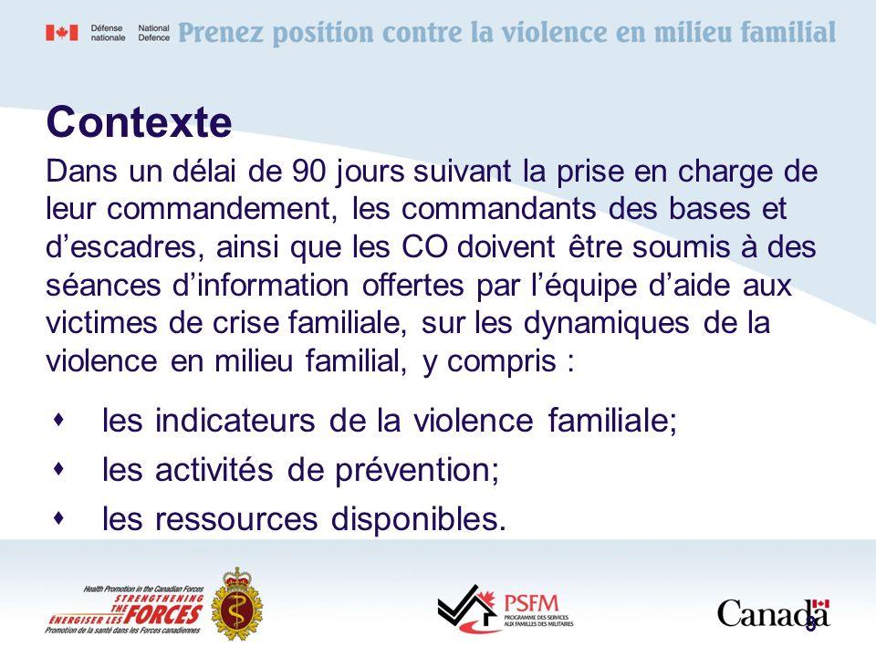 Politiques pertinentes : DOAD 5044-4 – Violence en milieu familial Directives du CEMD : Chapitre 23, qui porte sur la violence familiale Ordres permanents de la base/escadre 24
