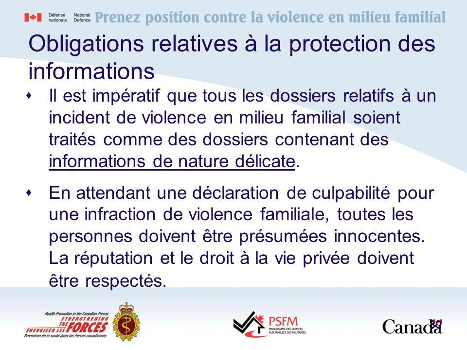 Obligations relatives à la protection des informations Il est impératif que tous les dossiers relatifs à un incident de violence en milieu familial so