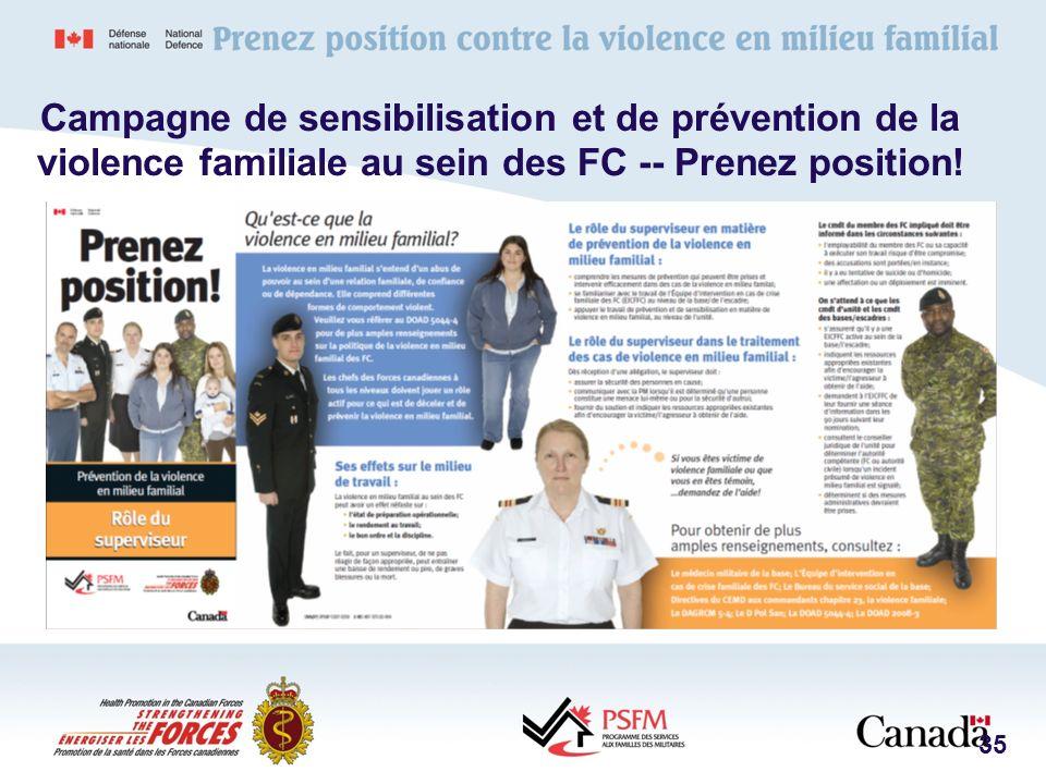35 Campagne de sensibilisation et de prévention de la violence familiale au sein des FC -- Prenez position!