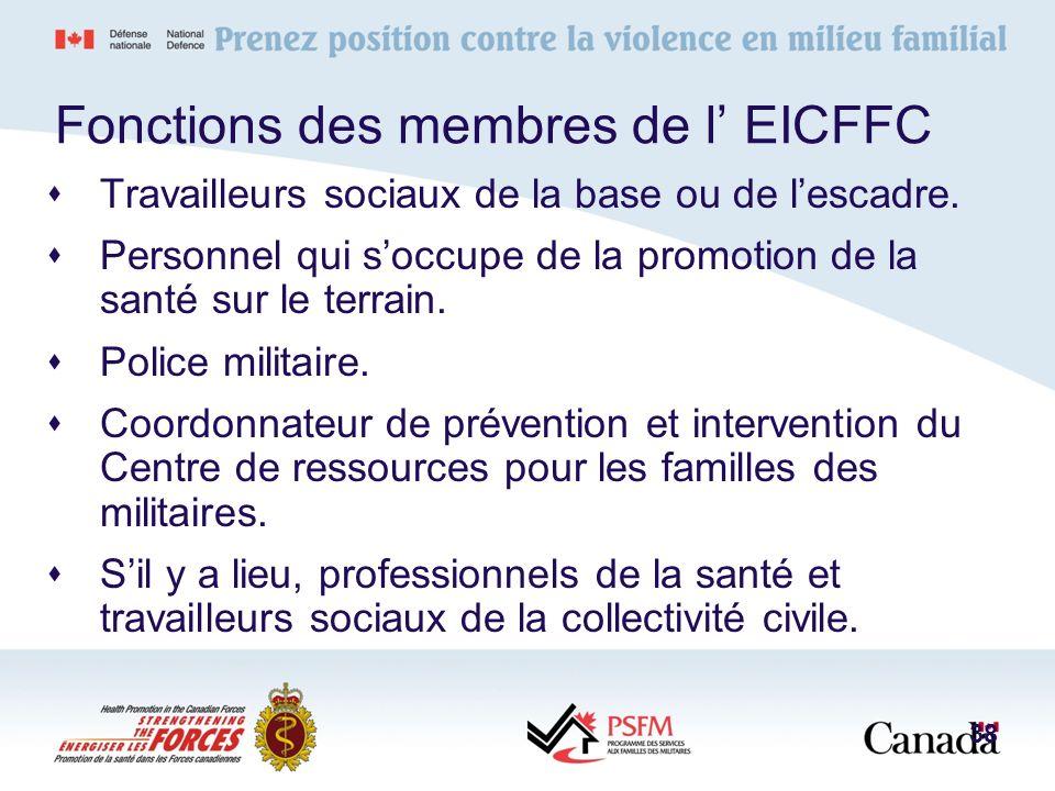 Fonctions des membres de l EICFFC Travailleurs sociaux de la base ou de lescadre. Personnel qui soccupe de la promotion de la santé sur le terrain. Po