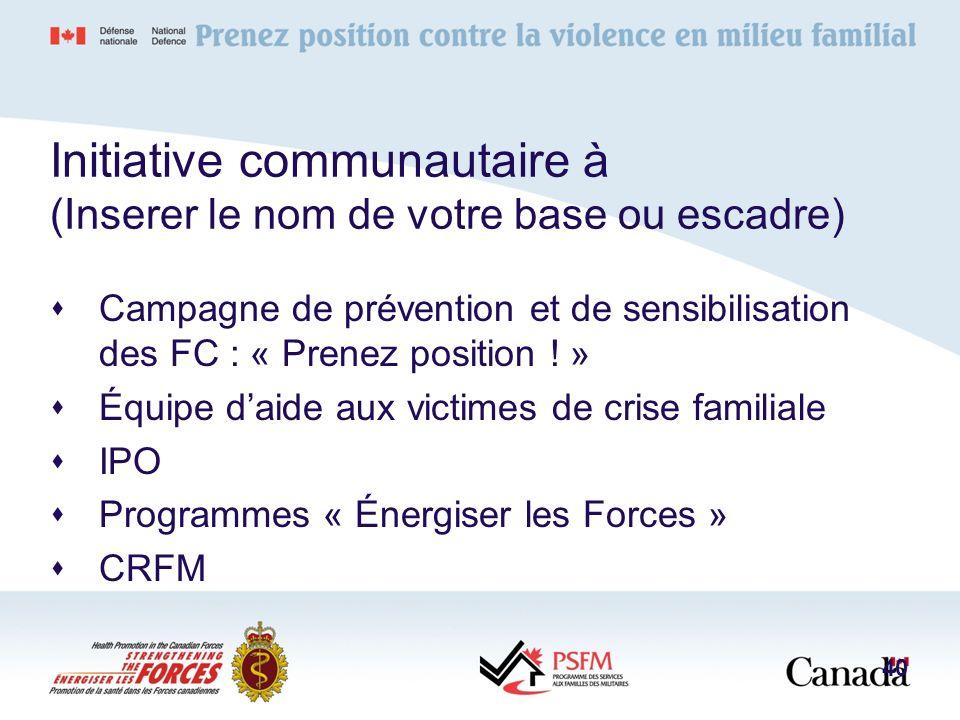 Initiative communautaire à (Inserer le nom de votre base ou escadre) Campagne de prévention et de sensibilisation des FC : « Prenez position ! » Équip