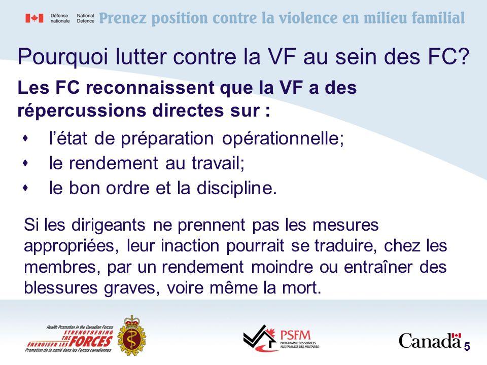Principes opérationnels de base La violence familiale, quelle que soit sa forme, peu importe qui lexerce, constitue un problème qui doit être traité en priorité au sein des FC.