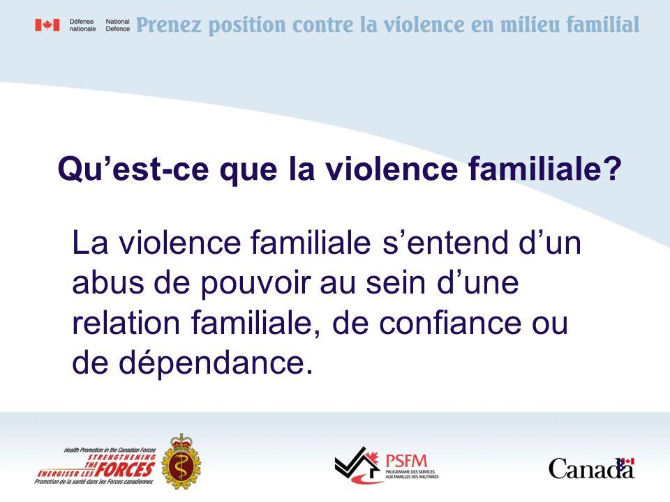 Quest-ce que la violence familiale? La violence familiale sentend dun abus de pouvoir au sein dune relation familiale, de confiance ou de dépendance.
