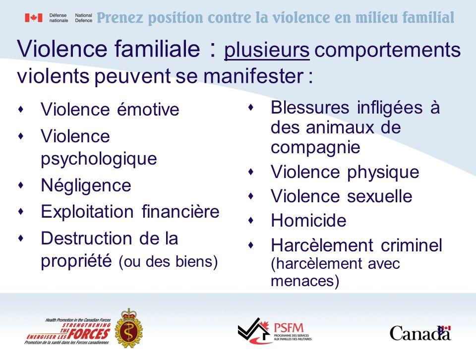 Violence familiale : plusieurs comportements violents peuvent se manifester : Blessures infligées à des animaux de compagnie Violence physique Violenc