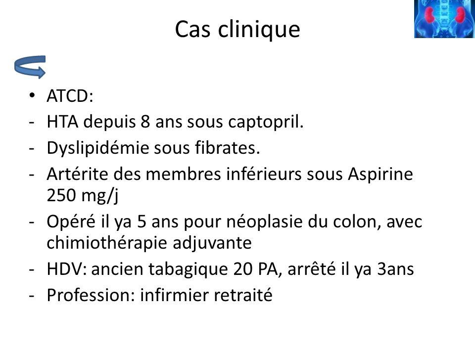 Cas clinique ATCD: -HTA depuis 8 ans sous captopril. -Dyslipidémie sous fibrates. -Artérite des membres inférieurs sous Aspirine 250 mg/j -Opéré il ya