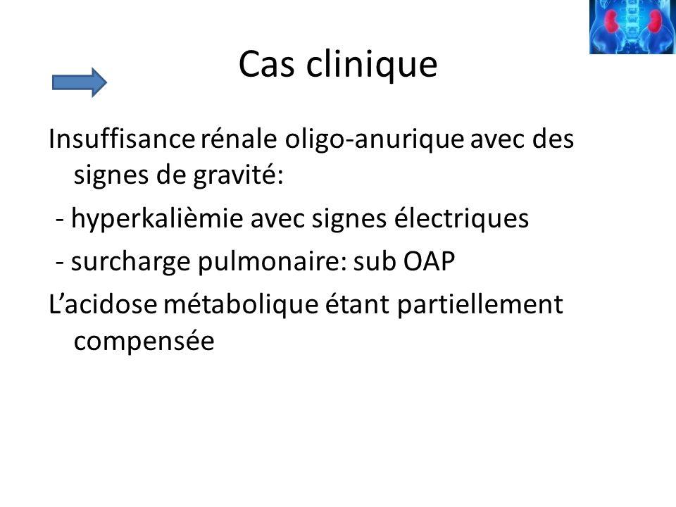 Cas clinique Insuffisance rénale oligo-anurique avec des signes de gravité: - hyperkalièmie avec signes électriques - surcharge pulmonaire: sub OAP La