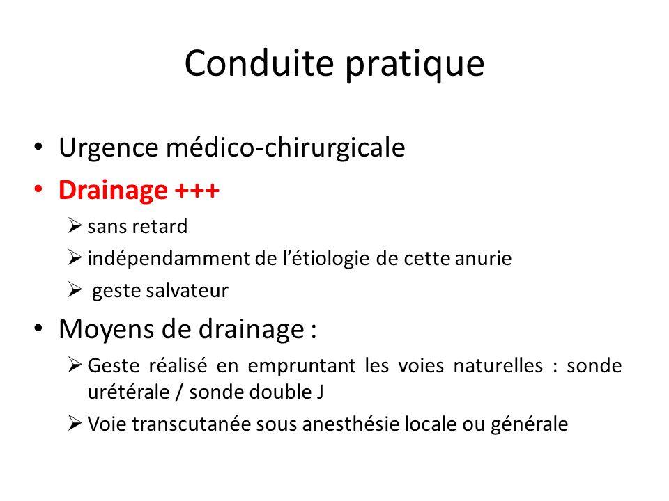 Conduite pratique Urgence médico-chirurgicale Drainage +++ sans retard indépendamment de létiologie de cette anurie geste salvateur Moyens de drainage