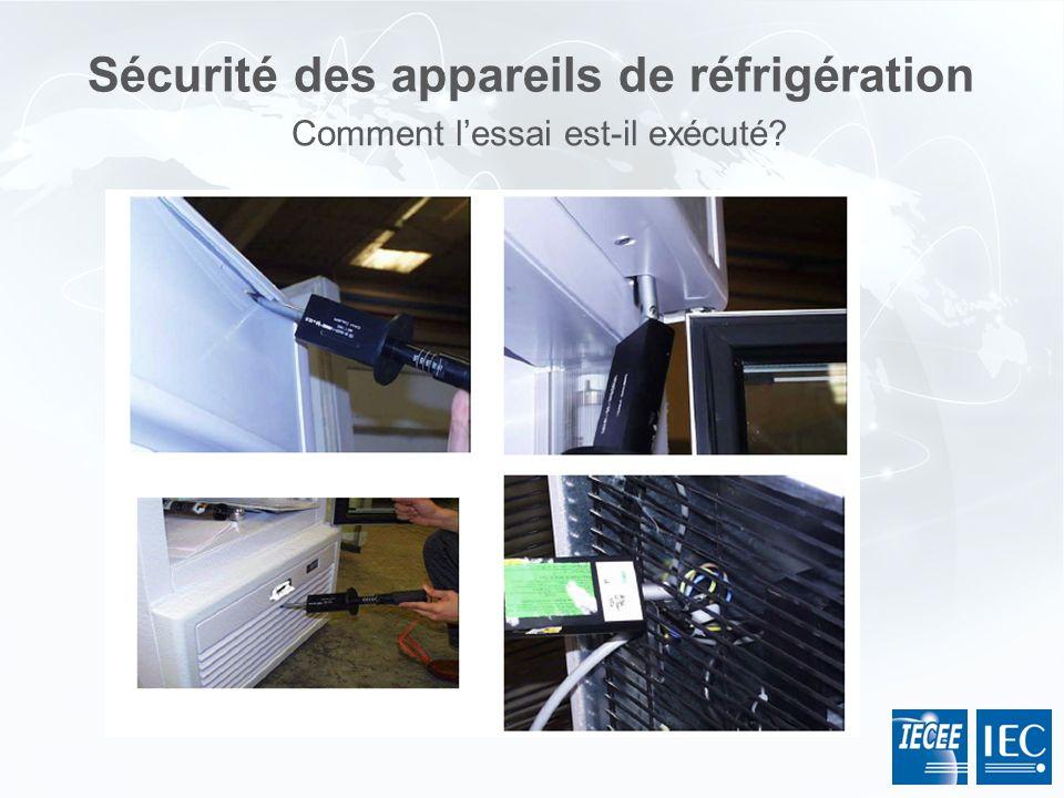 Sécurité des appareils de réfrigération Comment lessai est-il exécuté?