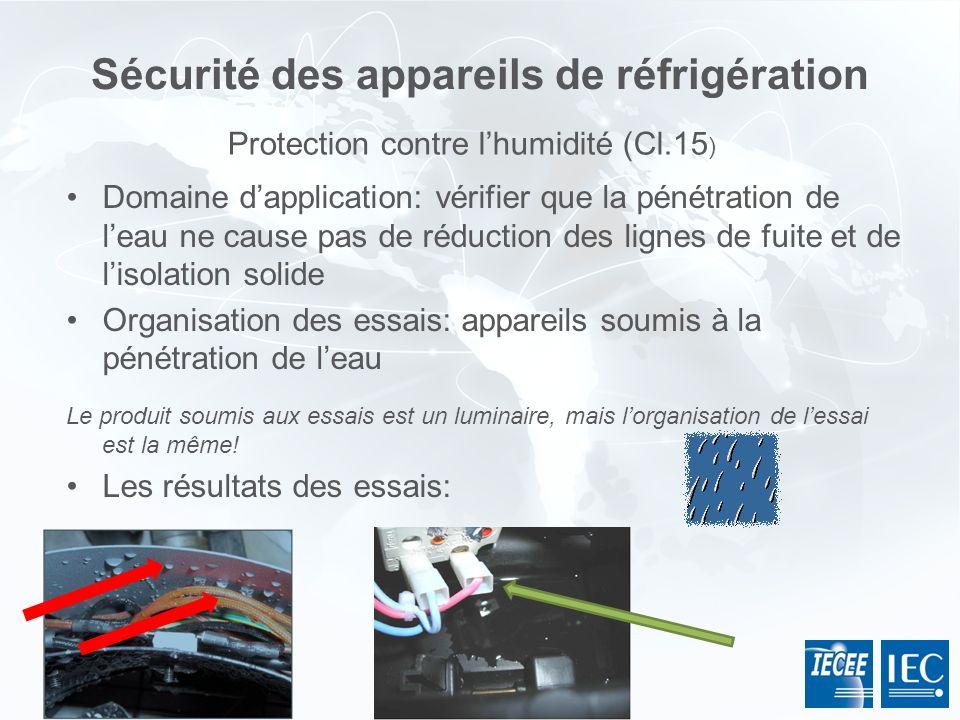 Sécurité des appareils de réfrigération Domaine dapplication: vérifier que la pénétration de leau ne cause pas de réduction des lignes de fuite et de
