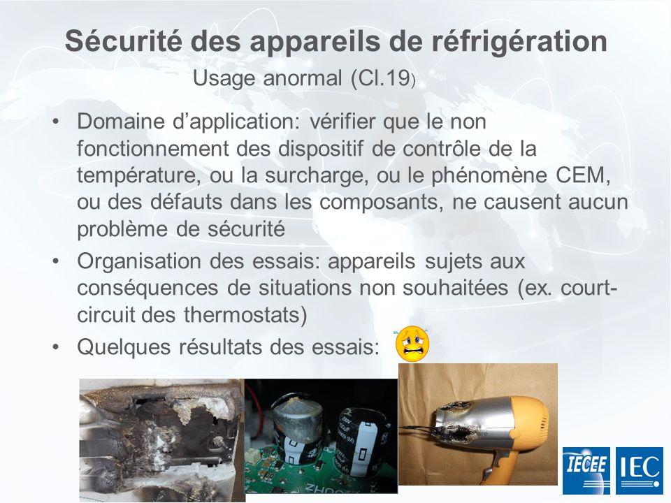 Sécurité des appareils de réfrigération Domaine dapplication: vérifier que le non fonctionnement des dispositif de contrôle de la température, ou la s