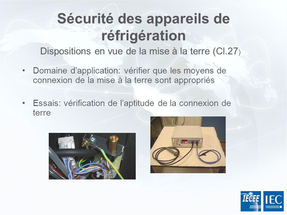 Sécurité des appareils de réfrigération Domaine dapplication: vérifier que les moyens de connexion de la mise à la terre sont appropriés Essais: vérif