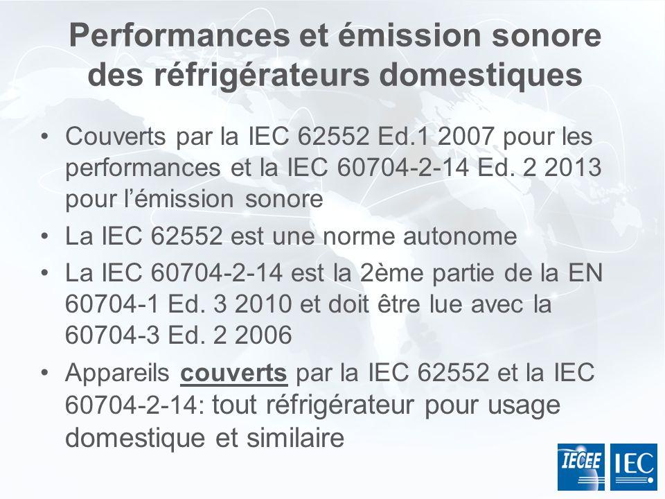 Performances et émission sonore des réfrigérateurs domestiques Couverts par la IEC 62552 Ed.1 2007 pour les performances et la IEC 60704-2-14 Ed. 2 20
