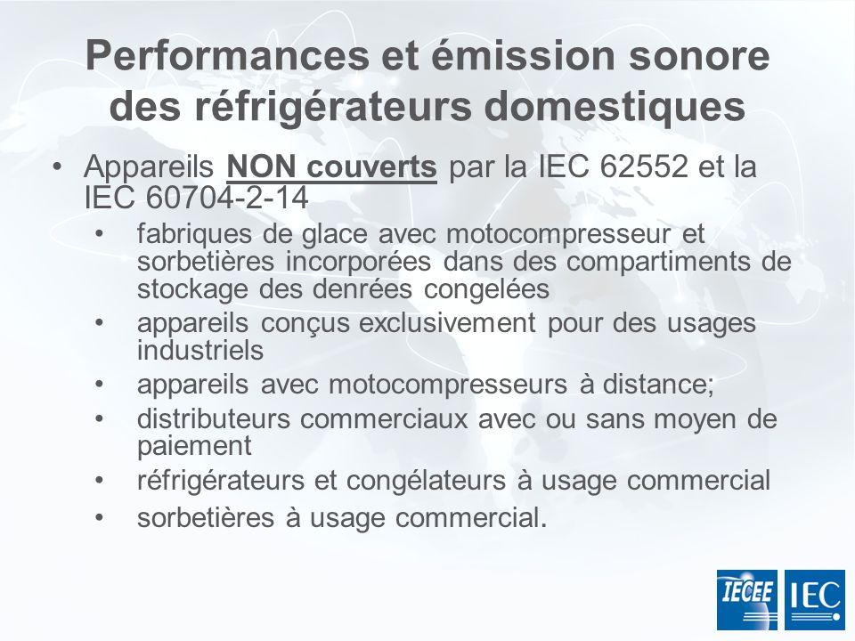 Performances et émission sonore des réfrigérateurs domestiques Appareils NON couverts par la IEC 62552 et la IEC 60704-2-14 fabriques de glace avec mo