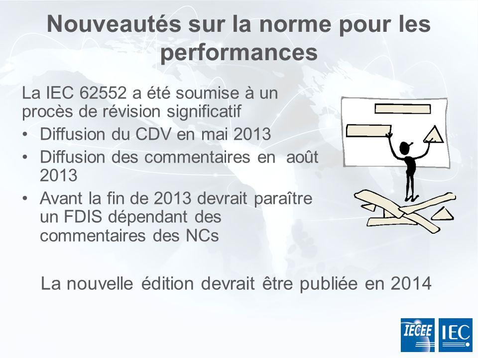 La IEC 62552 a été soumise à un procès de révision significatif Diffusion du CDV en mai 2013 Diffusion des commentaires en août 2013 Avant la fin de 2