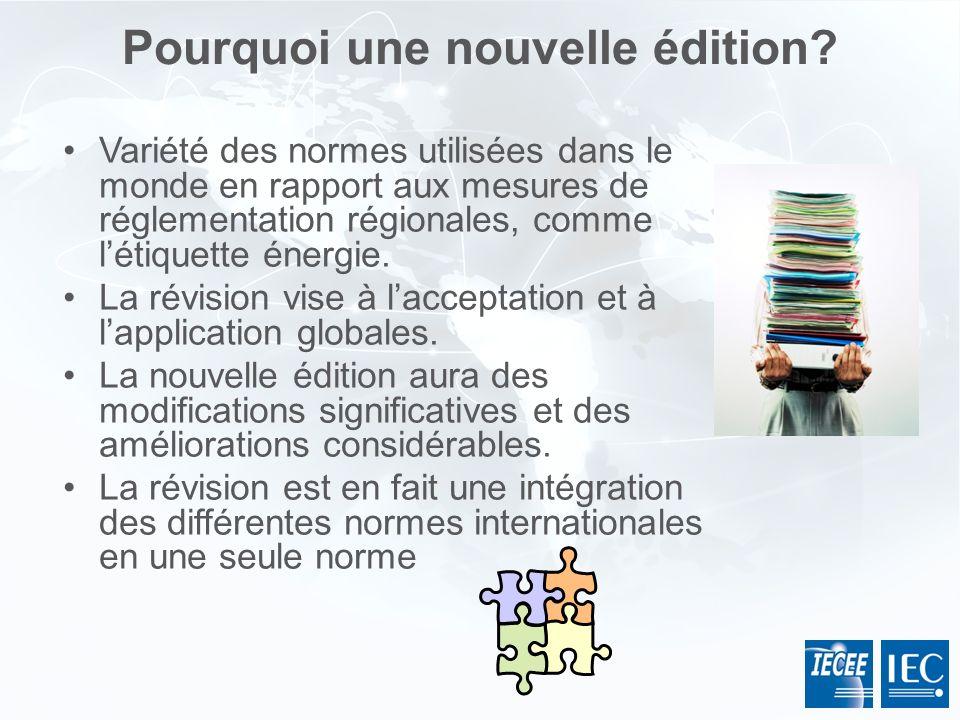 Variété des normes utilisées dans le monde en rapport aux mesures de réglementation régionales, comme létiquette énergie. La révision vise à lacceptat