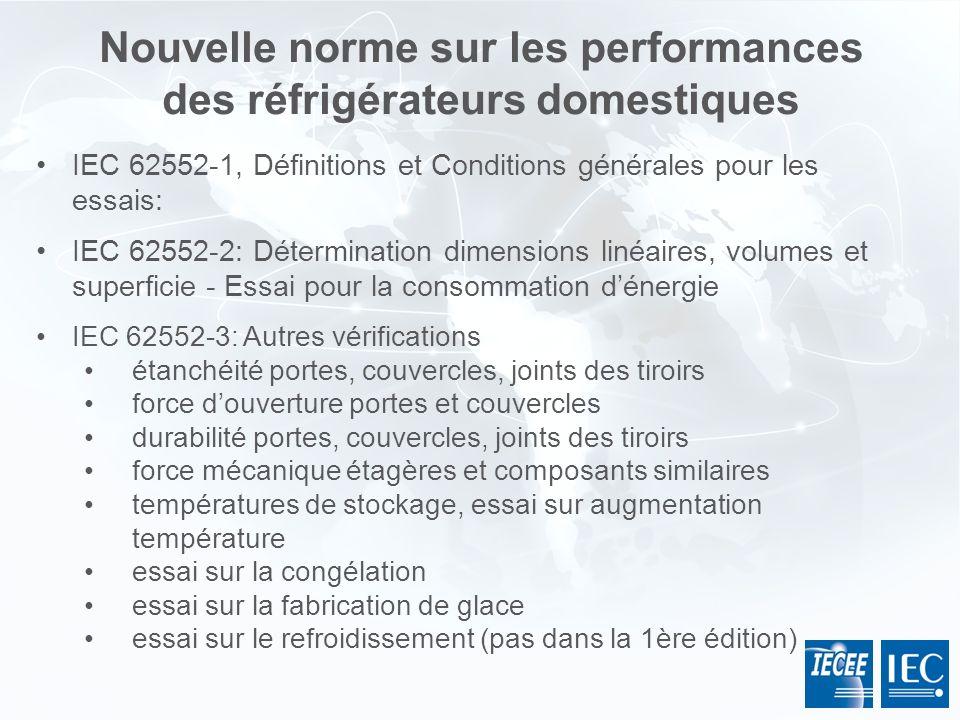 Nouvelle norme sur les performances des réfrigérateurs domestiques IEC 62552-1, Définitions et Conditions générales pour les essais: IEC 62552-2: Déte