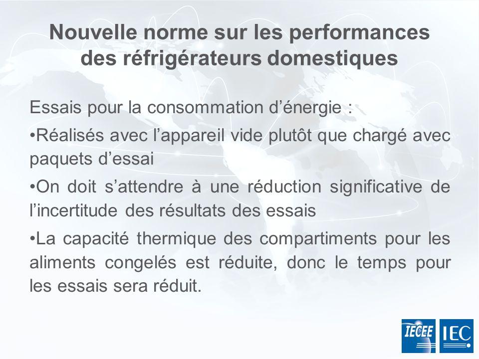 Nouvelle norme sur les performances des réfrigérateurs domestiques Essais pour la consommation dénergie : Réalisés avec lappareil vide plutôt que char