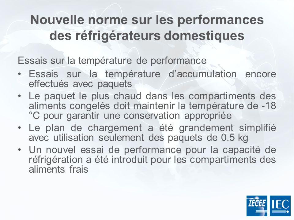 Nouvelle norme sur les performances des réfrigérateurs domestiques Essais sur la température de performance Essais sur la température daccumulation en