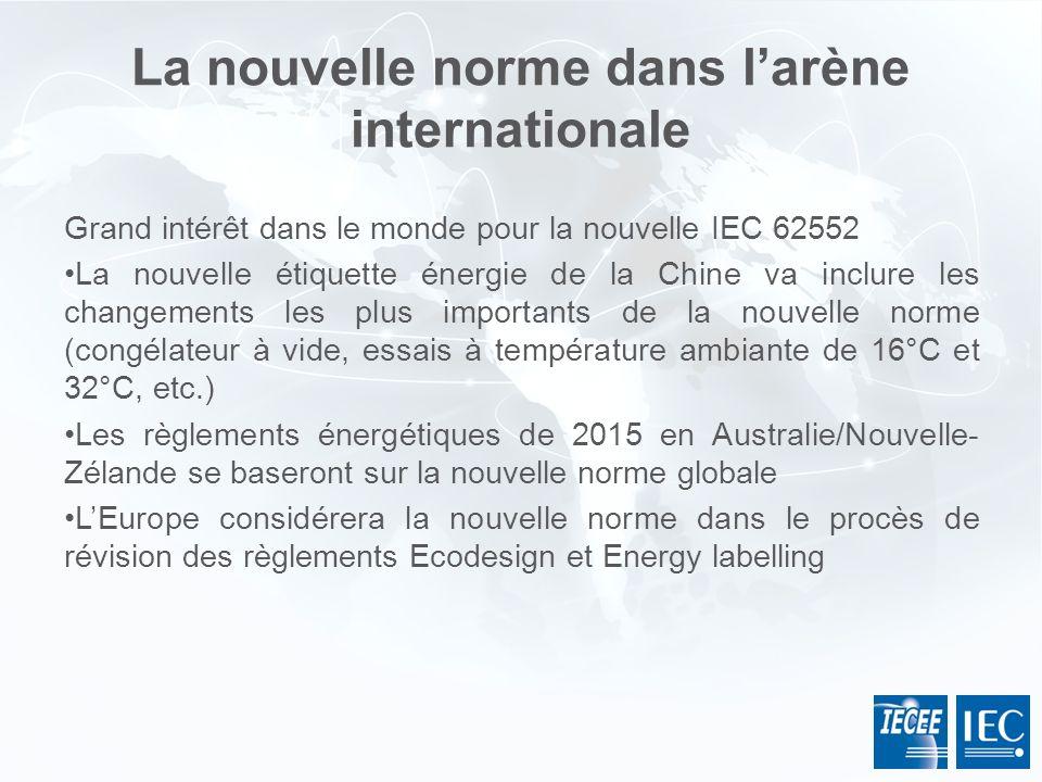 La nouvelle norme dans larène internationale Grand intérêt dans le monde pour la nouvelle IEC 62552 La nouvelle étiquette énergie de la Chine va inclu