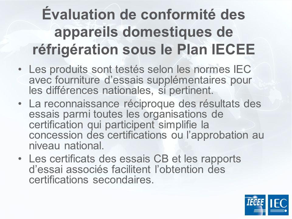 Les produits sont testés selon les normes IEC avec fourniture dessais supplémentaires pour les différences nationales, si pertinent. La reconnaissance