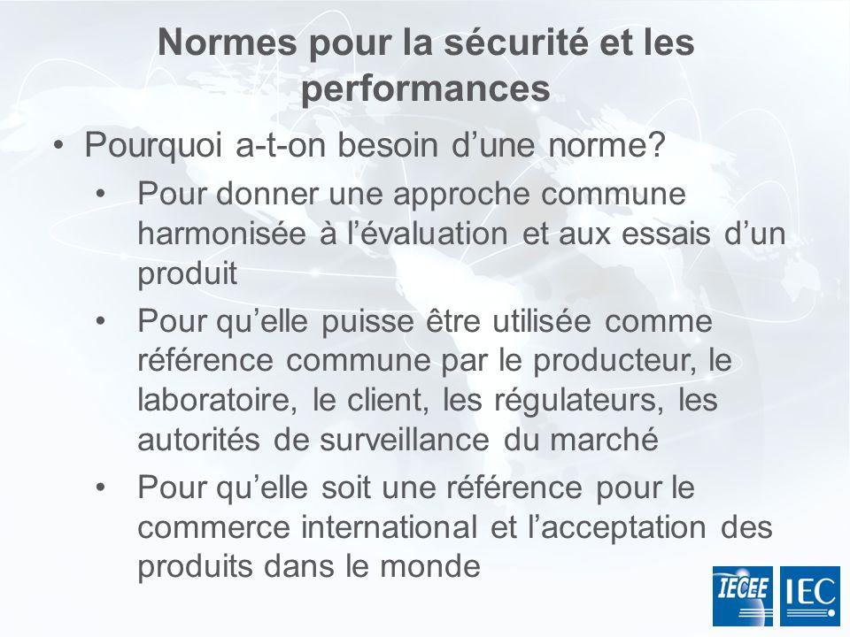 Normes pour la sécurité et les performances Pourquoi a-t-on besoin dune norme? Pour donner une approche commune harmonisée à lévaluation et aux essais