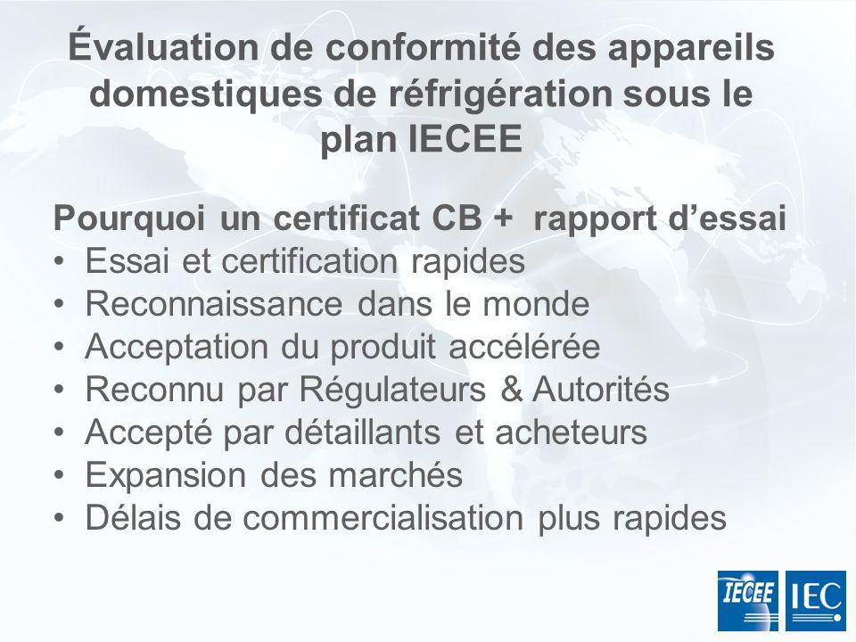 Pourquoi un certificat CB + rapport dessai Essai et certification rapides Reconnaissance dans le monde Acceptation du produit accélérée Reconnu par Ré