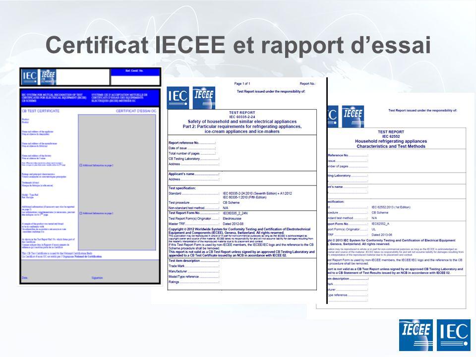 Certificat IECEE et rapport dessai