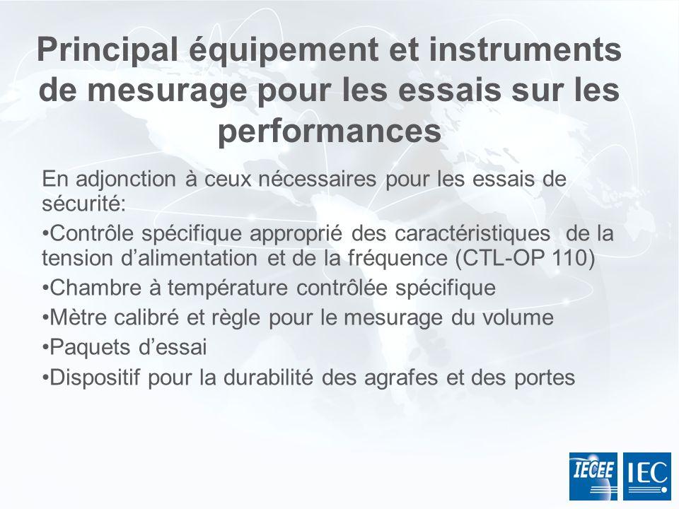 En adjonction à ceux nécessaires pour les essais de sécurité: Contrôle spécifique approprié des caractéristiques de la tension dalimentation et de la