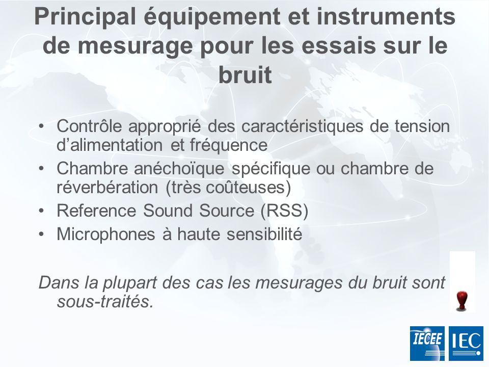 Principal équipement et instruments de mesurage pour les essais sur le bruit Contrôle approprié des caractéristiques de tension dalimentation et fréqu