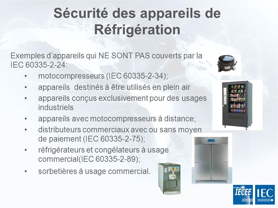 Sécurité des appareils de Réfrigération Exemples dappareils qui NE SONT PAS couverts par la IEC 60335-2-24: motocompresseurs (IEC 60335-2-34); apparei