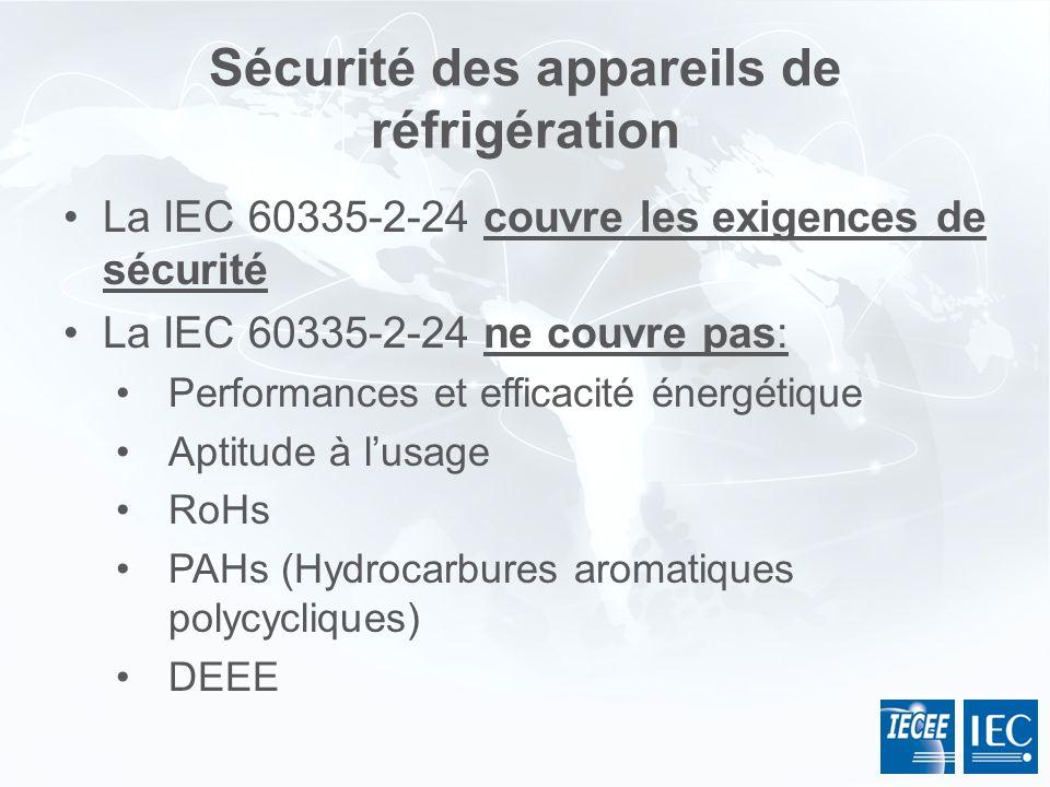 Sécurité des appareils de réfrigération La IEC 60335-2-24 couvre les exigences de sécurité La IEC 60335-2-24 ne couvre pas: Performances et efficacité