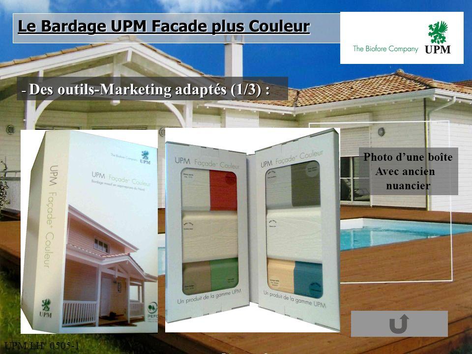 UPM/LH/ 0505-1 - Des outils-Marketing adaptés (1/3) : Le Bardage UPM Facade plus Couleur Photo dune boîte Avec ancien nuancier