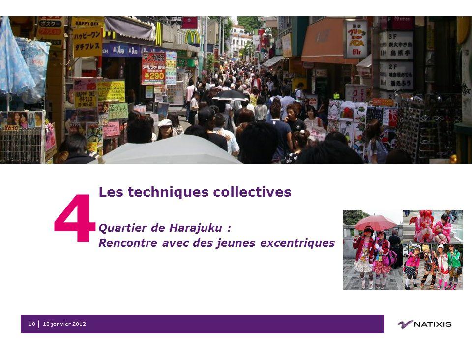 10 janvier 201210 4 Les techniques collectives Quartier de Harajuku : Rencontre avec des jeunes excentriques
