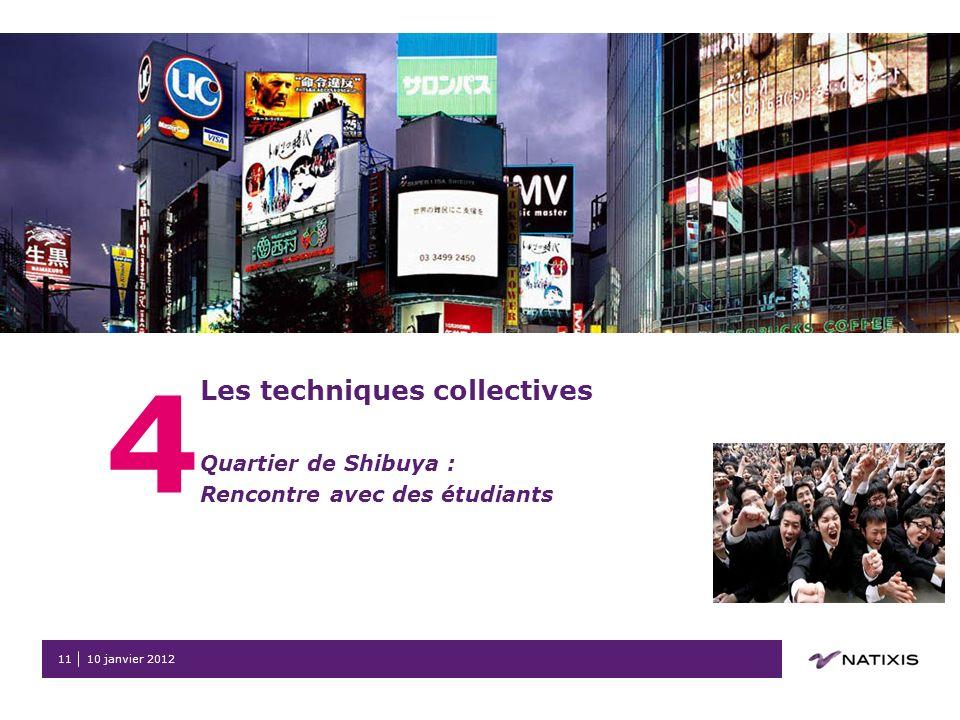 10 janvier 201211 4 Les techniques collectives Quartier de Shibuya : Rencontre avec des étudiants