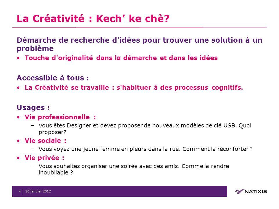 10 janvier 20125 2 Quelques exemples pour illustrer la Créativité