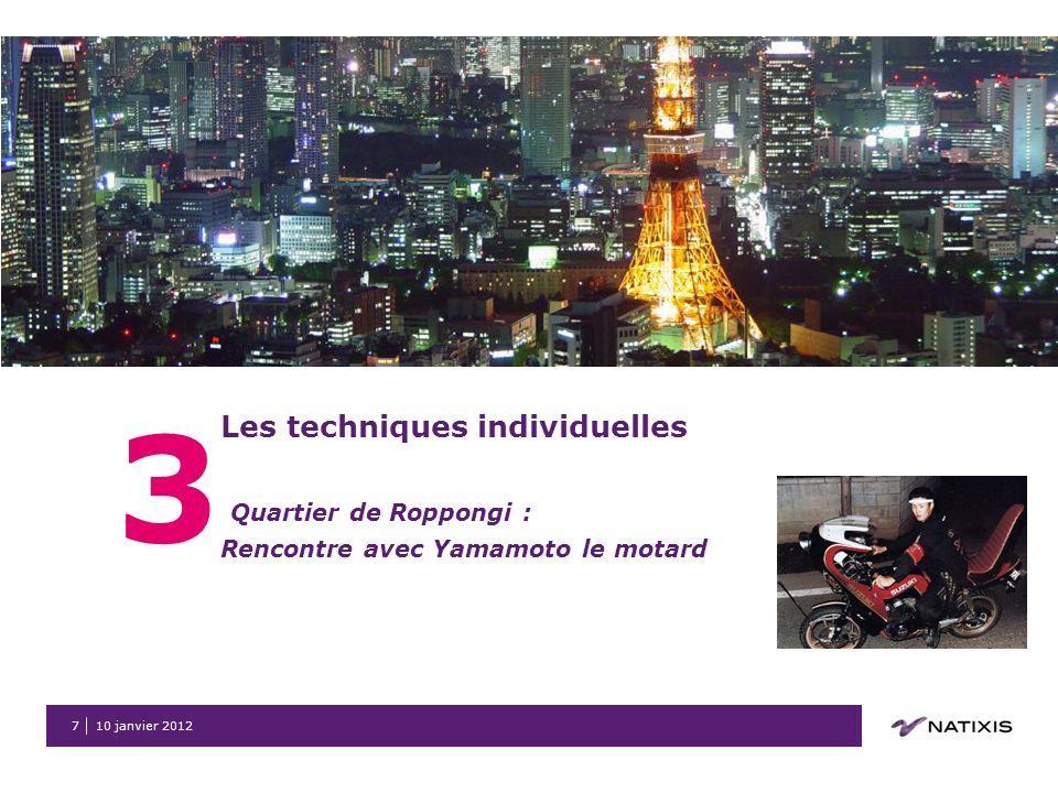 10 janvier 20127 3 Les techniques individuelles Quartier de Roppongi : Rencontre avec Yamamoto le motard