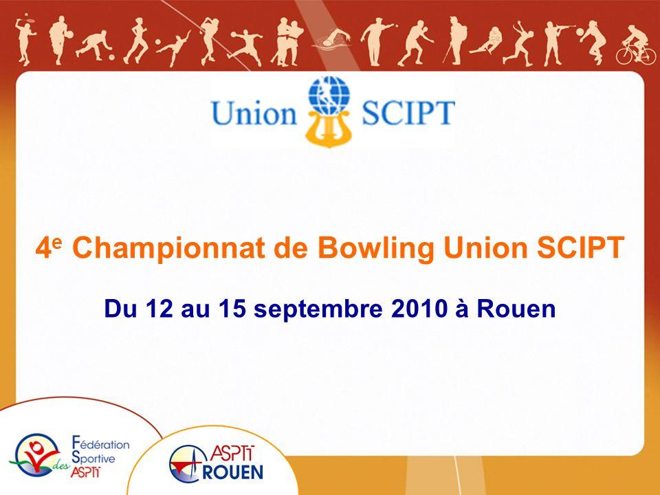 4 e Championnat de Bowling Union SCIPT Du 12 au 15 septembre 2010 à Rouen