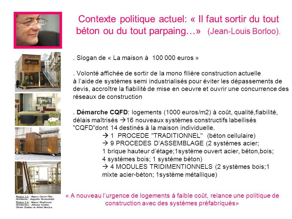 . Slogan de « La maison à 100 000 euros ». Volonté affichée de sortir de la mono filière construction actuelle à laide de systèmes semi industrialisés