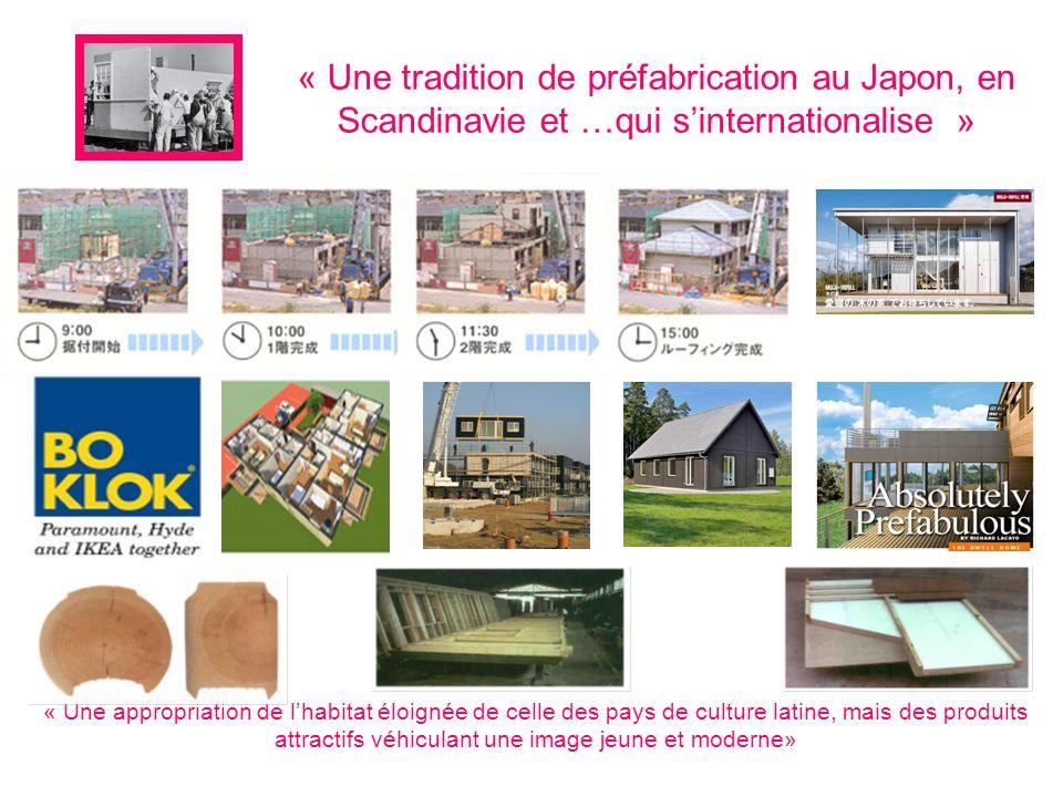 « Une tradition de préfabrication au Japon, en Scandinavie et …qui sinternationalise » « Une appropriation de lhabitat éloignée de celle des pays de culture latine, mais des produits attractifs véhiculant une image jeune et moderne»